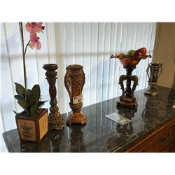 ASSORTED DECOR INC. TRADITIONAL STYLE CANDLE HOLDERS, DECORATIVE FRUIT BOWL STAND, AND ORCHID