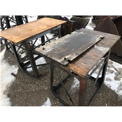 "SE OF 2 METAL WORK STANDS / TABLE - 37"" H"