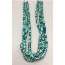 Three Strand Turquoise and Heishi Necklace