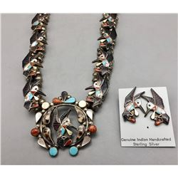 Zuni Inlay Hummingbird Necklace Set by Carlene Leekity