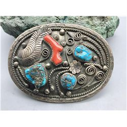 Vintage Coral and Turquoise Belt Buckle