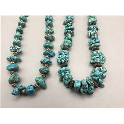 Two Chunky Turquoise Nugget Necklaces
