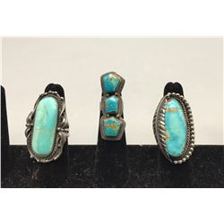 Three Nice Turquoise Rings