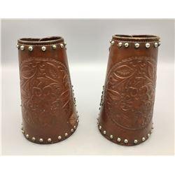 Studded Leather Cowboy Wrist Cuffs