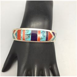 Multi-Stone, Sterling Silver Inlay Bracelet - Ray Tracey