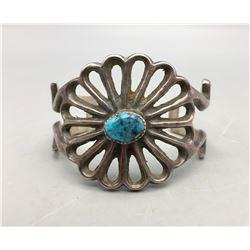 Vintage Turquoise & Sterling Silver Sandcast Bracelet