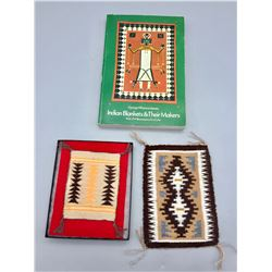 Two Mini Rugs with Case, Indian Blankets and Makers Book