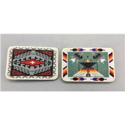 Two Finely Beaded Belt Buckles