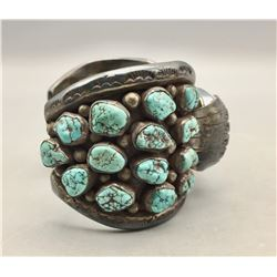 Vintage Sterling Silver and Turquoise Cluster Watch Bracelet