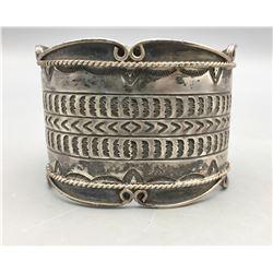 Wide, Vintage Sterling Silver Bracelet