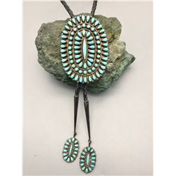 Vintage Turquoise and Sterling Silver Cluster Bolo