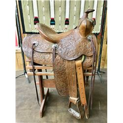 Nicely Tooled Vintage Saddle with Stand