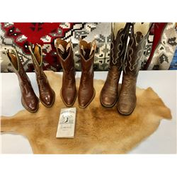 Group of Vintage Boots and Kangaroo Hide