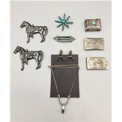 Collection of Vintage Pins, Money Clips, Pill Box, etc.