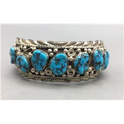 Seven Stone Turquoise and Sterling Silver Bracelet