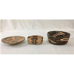 Group of Three Smaller Pima Baskets