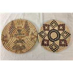 Two Vintage Hopi Coiled Plaque/Baskets