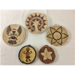 Five Smaller Sized Hopi Coiled Baskets