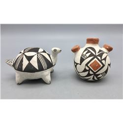 Acoma Turtle Effigy and Canteen Pottery