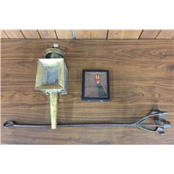 "Vintage ""Toe Tag"" Display, Branding Iron and Buggy Lamp"