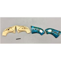 Two Pair Custom Grips - Turquoise and Steer Heads