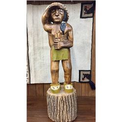 Vintage 37 Inch Wooden Indian