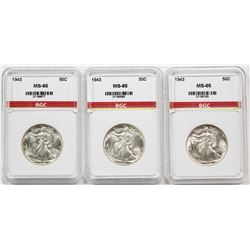THREE 1943 WALKING LIBERTY HALF DOLLARS