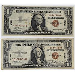 TWO 1935-A $1.00 HAWAII SILVER CERTIFICATES