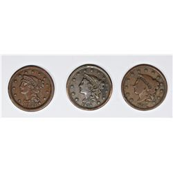 1854, 1838, AND 1837 U.S. LARGE CENTS