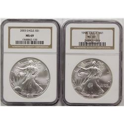 1998 AND 2003 AMERICAN SILVER EAGLES