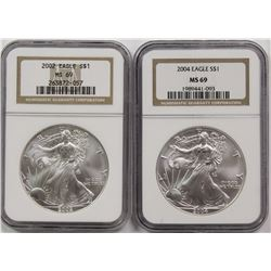 2002 AND 2004 AMERICAN SILVER EAGLES