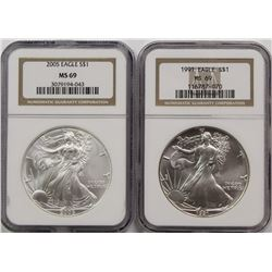 1991 AND 2005 AMERICAN SILVER EAGLES