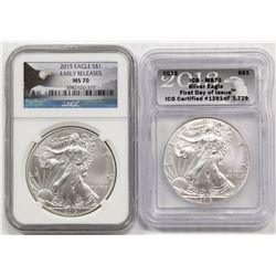 2015 AND 2013 AMERICAN SILVER EAGLES
