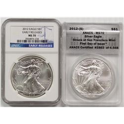 TWO 2012 AMERICAN SILVER EAGLES