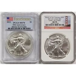 TWO 2011 AMERICAN SILVER EAGLES