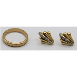 14K GOLD RING AND EARRINGS