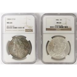 TWO NGC MS64 MORGAN DOLLARS: