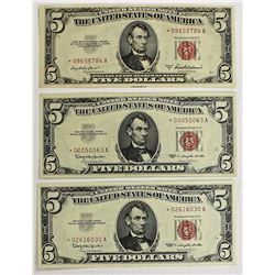 THREE $5.00 U.S. NOTES: STAR NOTES: