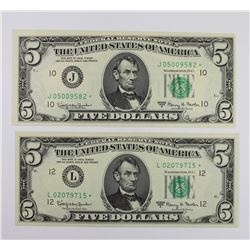 (2) 1963-A $5.00 FEDERAL RESERVE STAR NOTES