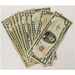 (10) $5.00 RED SEAL U.S. NOTES