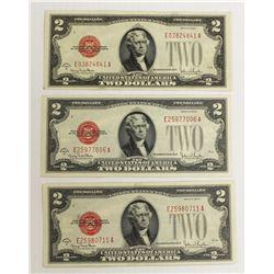 (3) 1928-G $2.00 U.S. NOTES