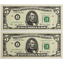 TWO 1969-C $5.00 KANSAS CITY FEDERAL RESERVE NOTES