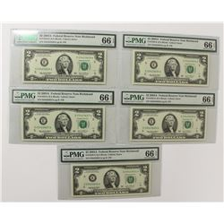 (5) 2003 A $2.00 FEDERAL RESERVE NOTES