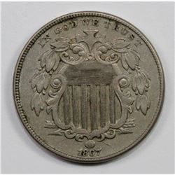 1867 RAYS SHIELD NICKEL