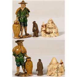 Japanese Netsuke, Mudman and Monk Figurines  (112775)