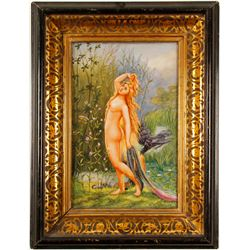 Nude Nymph,  With Fish Skin and Raven Painting  (77465)