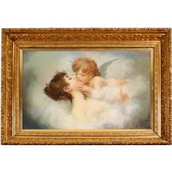 William Putnam Hill Painting of Cupid and Woman  (78424)