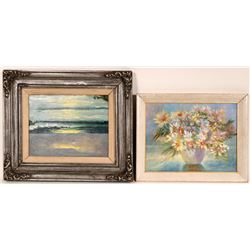 Autographed Original Artwork! Two Oil Paintings and One Reproduction - (Lot of 3)  (108788)