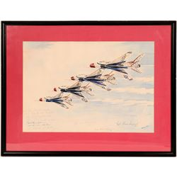 "Bonnie Snow Watercolor, 1965, ""Thunderbirds"" Signed by the Pilots  (114397)"