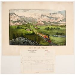 Currier & Ives Hand-colored Lithograph: The Great West  (74588)